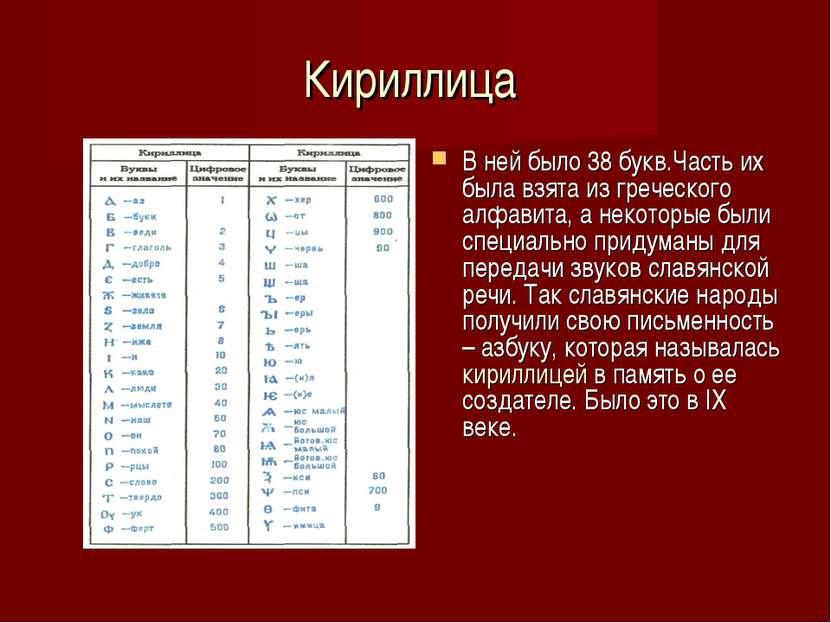 Кириллица В ней было 38 букв.Часть их была взята из греческого алфавита, а не...