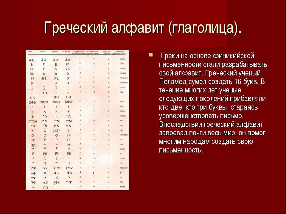 Греческий алфавит (глаголица). Греки на основе финикийской письменности стали...