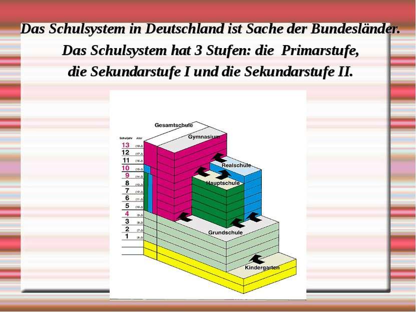 Das Schulsystem in Deutschland ist Sache der Bundesländer. Das Schulsystem ha...
