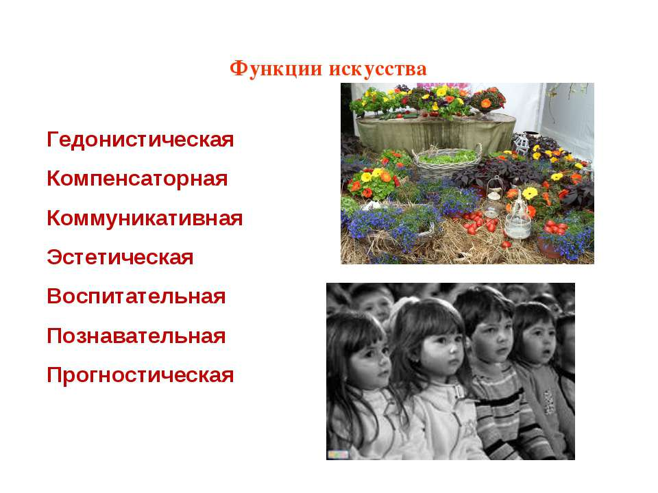 Функции искусства Гедонистическая Компенсаторная Коммуникативная Эстетическая...