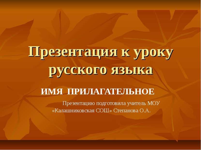 Презентация к уроку русского языка ИМЯ ПРИЛАГАТЕЛЬНОЕ Презентацию подготовила...