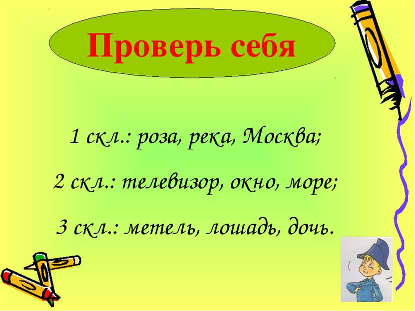 Проверь себя 1 скл.: роза, река, Москва; 2 скл.: телевизор, окно, море; 3 скл...