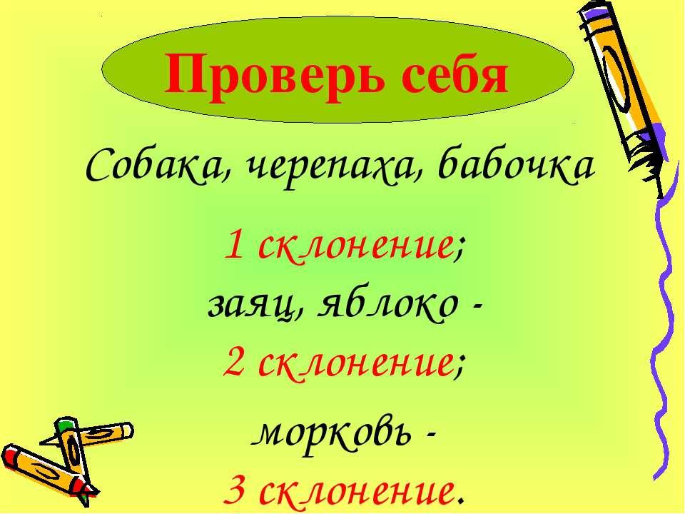 Собака, черепаха, бабочка Проверь себя 1 склонение; заяц, яблоко - 2 склонени...