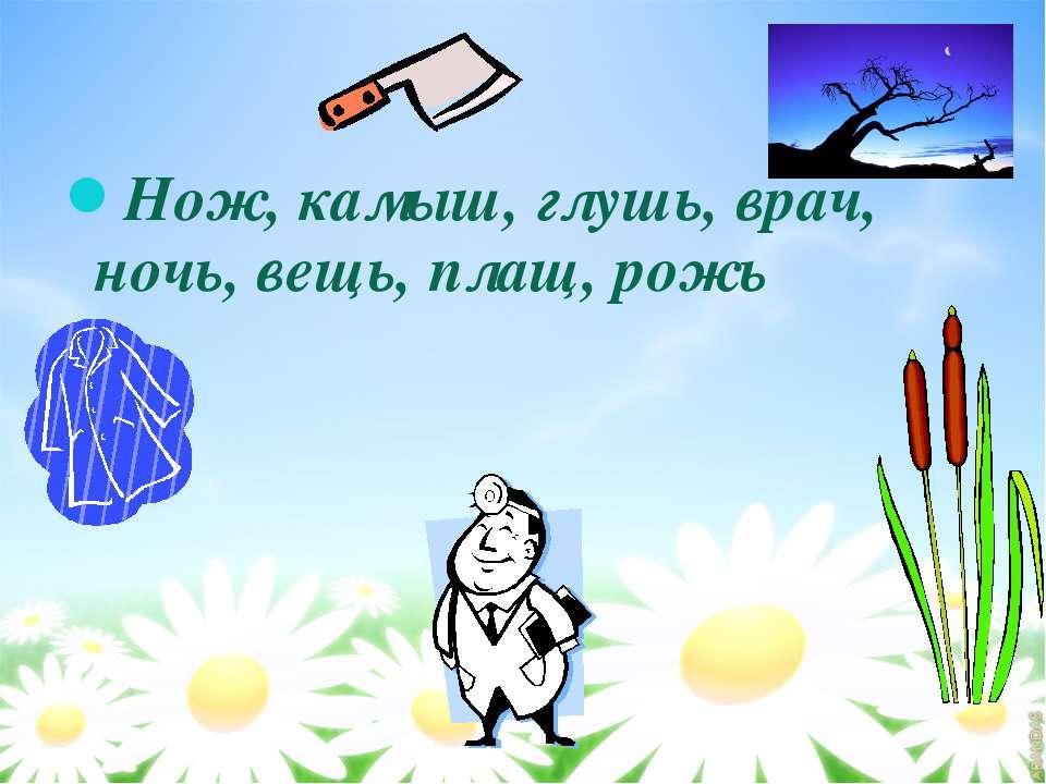 Нож, камыш, глушь, врач, ночь, вещь, плащ, рожь