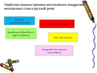 Наиболее важные причины интенсивного внедрения иноязычных слов в русской речи...