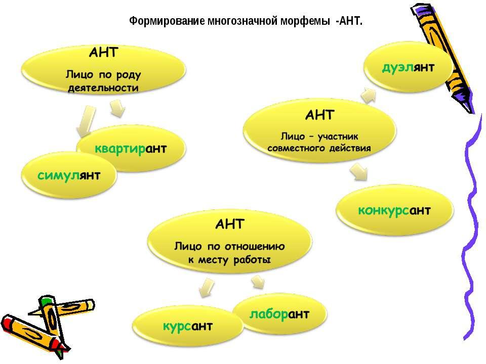 Формирование многозначной морфемы -АНТ.