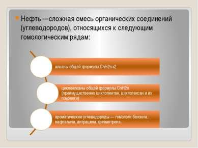 Нефть —сложная смесь органических соединений (углеводородов), относящихся к с...