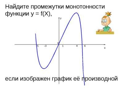 y x 4 1 -3 -5 6 0 Найдите промежутки монотонности функции y = f(X), если изоб...