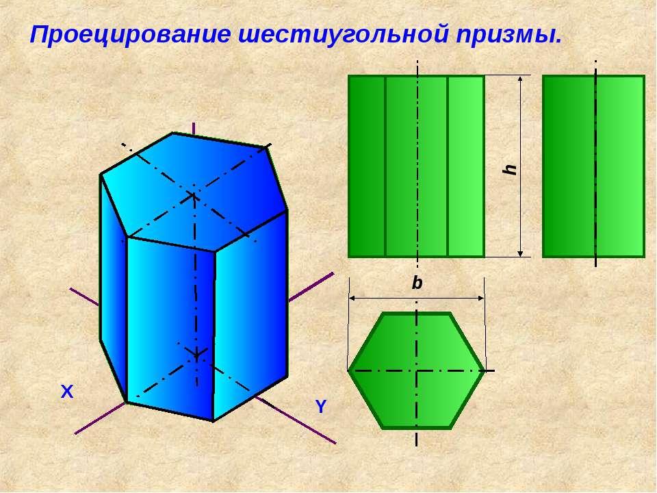 Проецирование шестиугольной призмы.