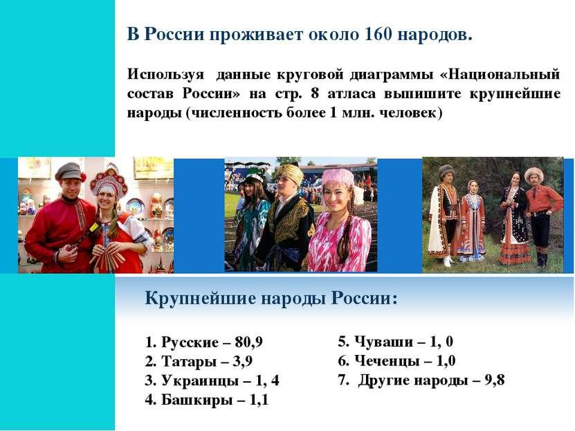 В России проживает около 160 народов. Используя данные круговой диаграммы «На...