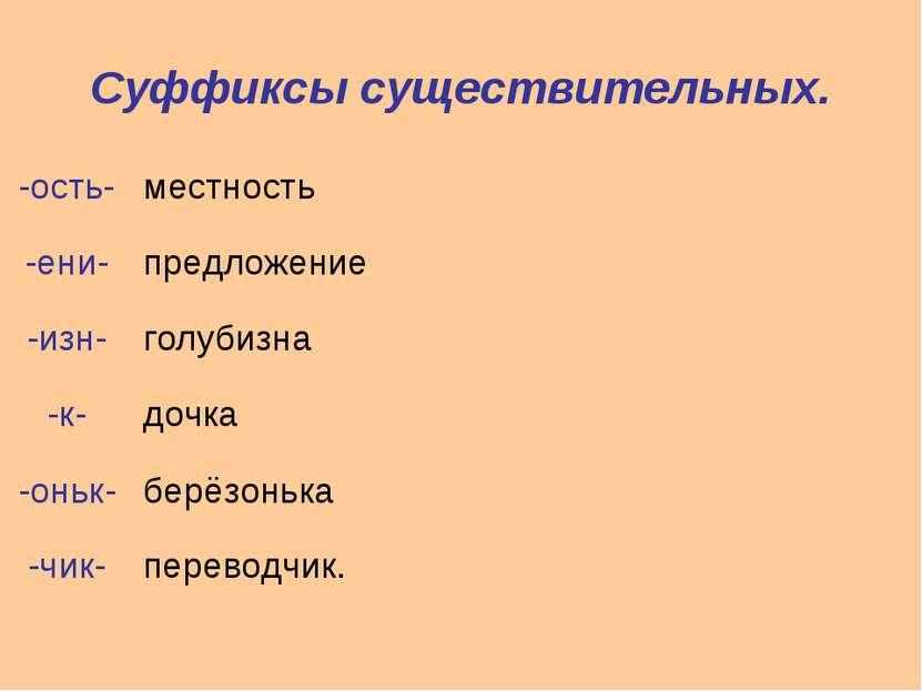 Суффиксы существительных. -ость- местность -ени- предложение -изн- голубизна ...