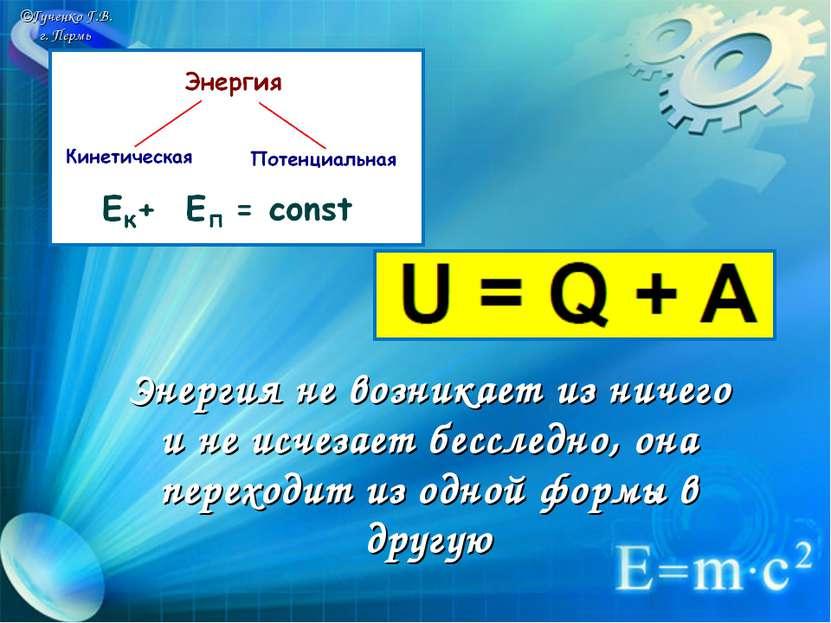 ©Гученко Г.В. г. Пермь Энергия не возникает из ничего и не исчезает бесследно...