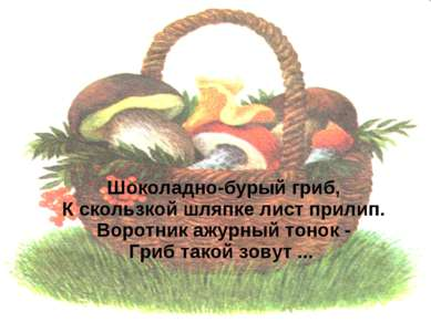 Шоколадно-бурый гриб, К скользкой шляпке лист прилип. Воротник ажурный тонок ...