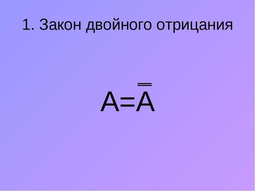 1. Закон двойного отрицания А=А