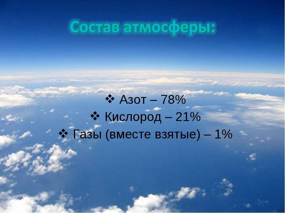 Азот – 78% Кислород – 21% Газы (вместе взятые) – 1%