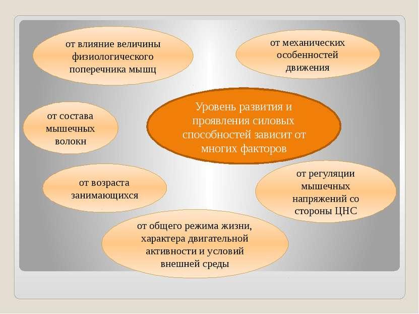 Уровень развития и проявления силовых способностей зависит от многих факторов...