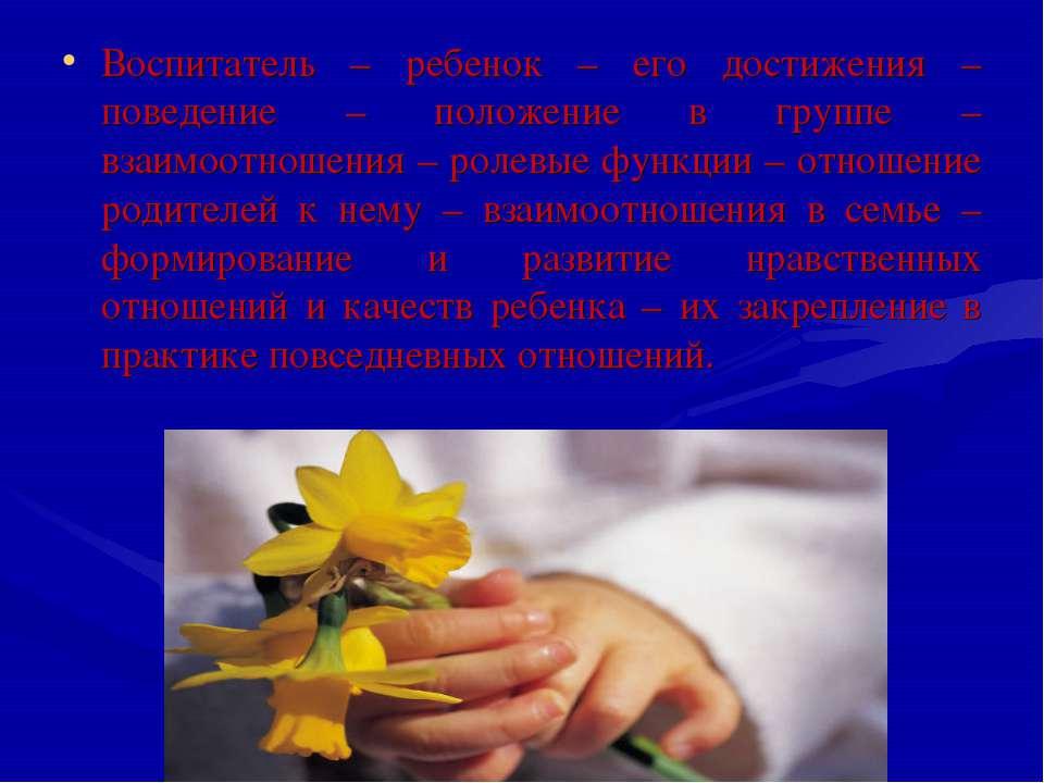 Воспитатель – ребенок – его достижения – поведение – положение в группе – вза...