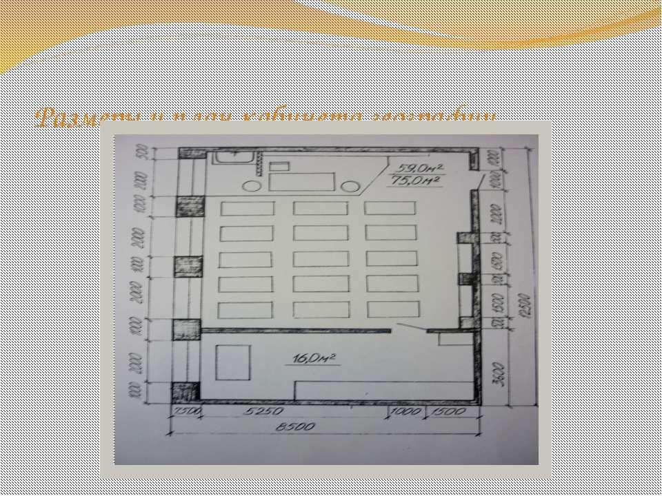 Размеры и план кабинета географии