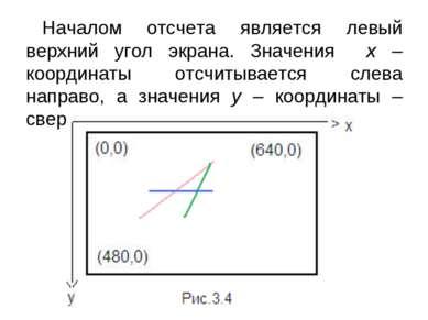 Началом отсчета является левый верхний угол экрана. Значения х – координаты о...