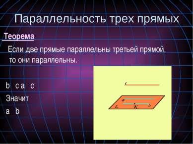 Теорема Если две прямые параллельны третьей прямой, то они параллельны. bιιс ...