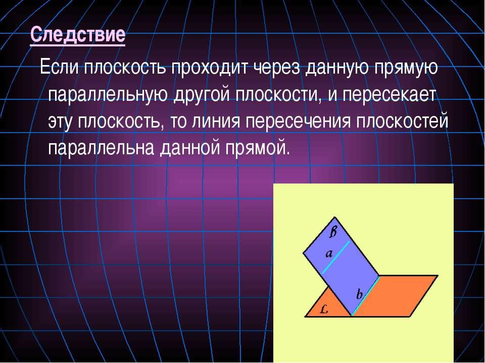 Следствие Если плоскость проходит через данную прямую параллельную другой пло...