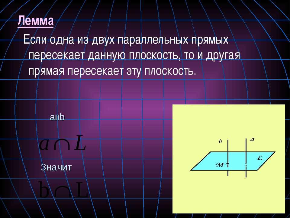 Лемма Если одна из двух параллельных прямых пересекает данную плоскость, то и...