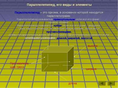 Параллелепипед, его виды и элементы Параллелепипед – это призма, в основании ...