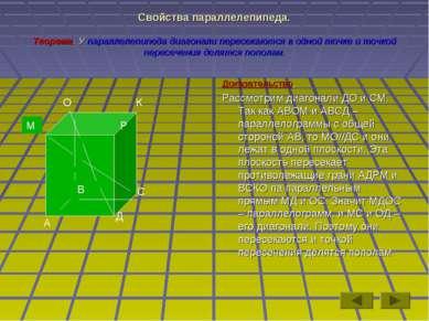 Свойства параллелепипеда. Теорема. У параллелепипеда диагонали пересекаются в...