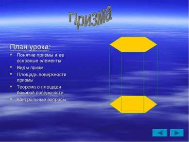 План урока: Понятие призмы и ее основные элементы Виды призм Площадь поверхно...