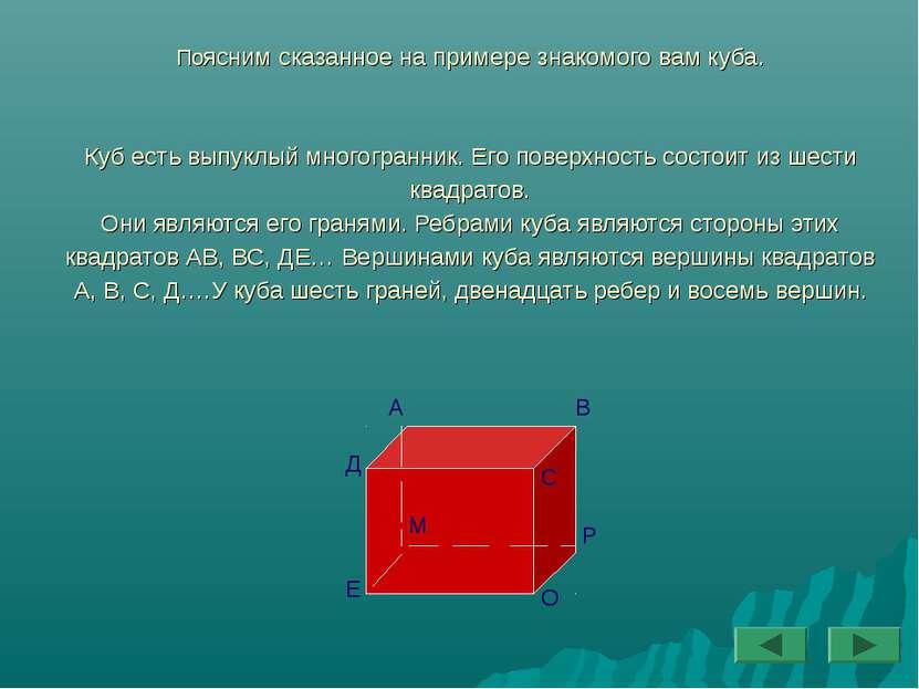 Поясним сказанное на примере знакомого вам куба. Куб есть выпуклый многогранн...