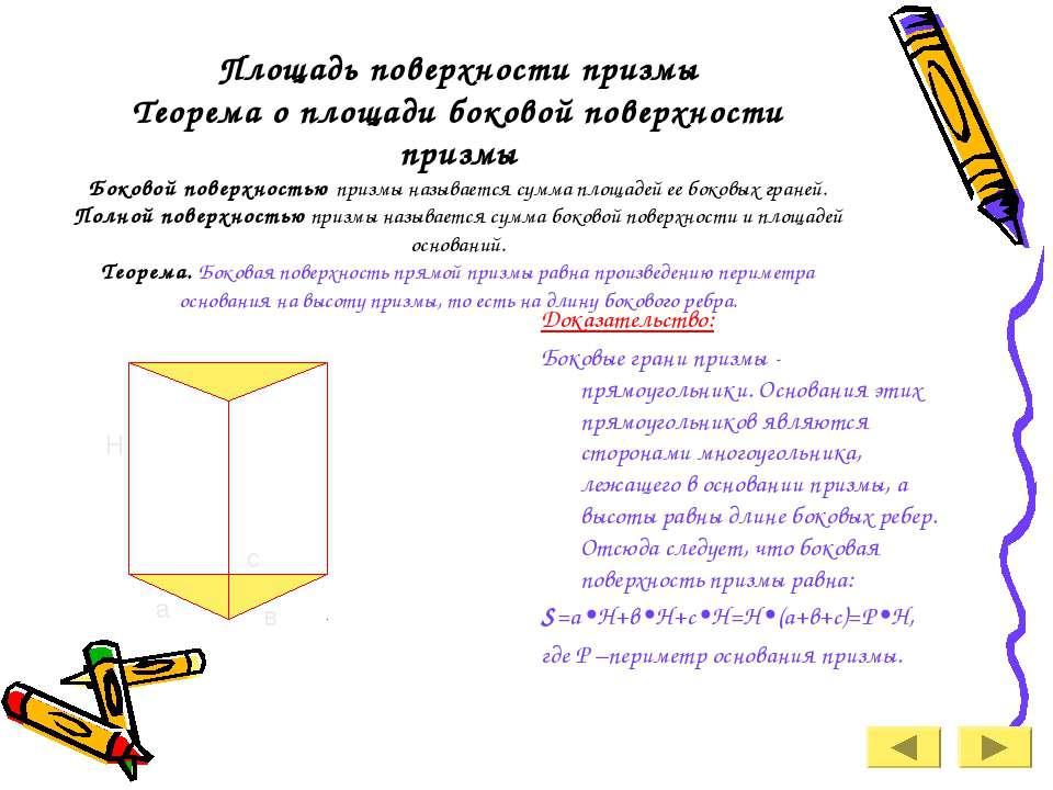 Площадь поверхности призмы Теорема о площади боковой поверхности призмы Боков...