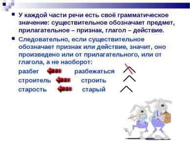 У каждой части речи есть своё грамматическое значение: существительное обозна...