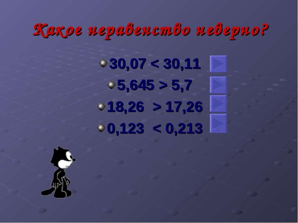 Какое неравенство неверно? 30,07 < 30,11 5,645 > 5,7 18,26 > 17,26 0,123 < 0,213
