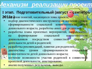 Механизм реализации проекта I этап. Подготовительный (август – сентябрь 2011г...