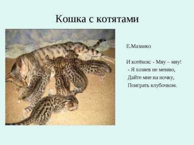 Кошка с котятами Е.Мазанко И котёнок: - Мяу – мяу! - Я хозяев не меняю, Дайте...