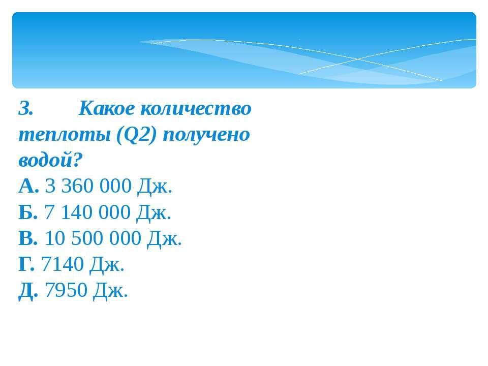 3.Какое количество теплоты (Q2) получено водой? А.3 360 000 Дж. Б.7...