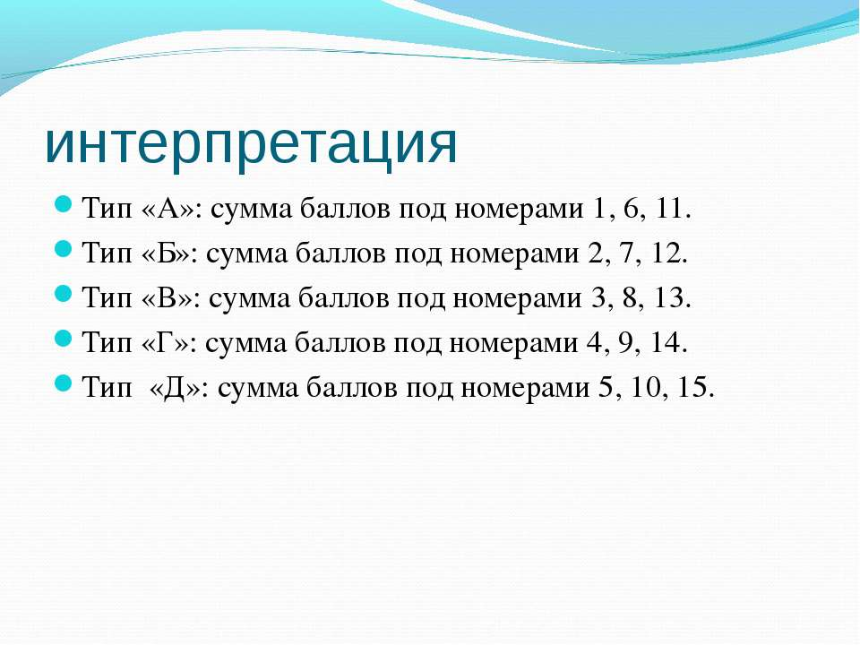 интерпретация Тип «А»: сумма баллов под номерами 1, 6, 11. Тип «Б»: сумма бал...