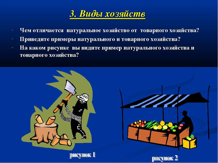 3. Виды хозяйств Чем отличается натуральное хозяйство от товарного хозяйства?...