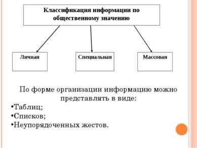 По форме организации информацию можно представлять в виде: Таблиц; Списков; Н...