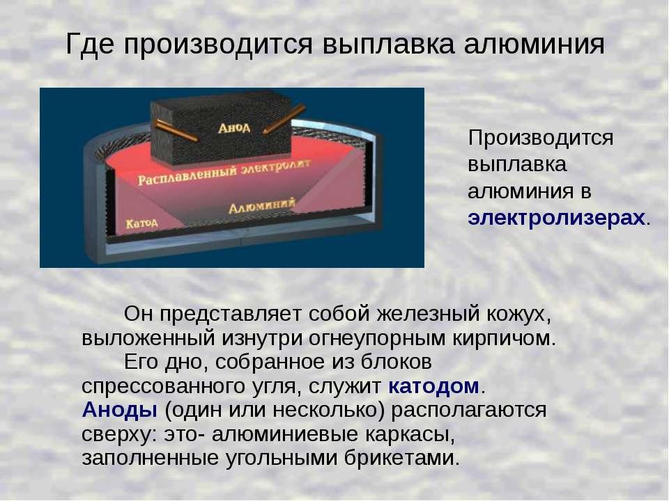 Где производится выплавка алюминия Он представляет собой железный кожух, выло...