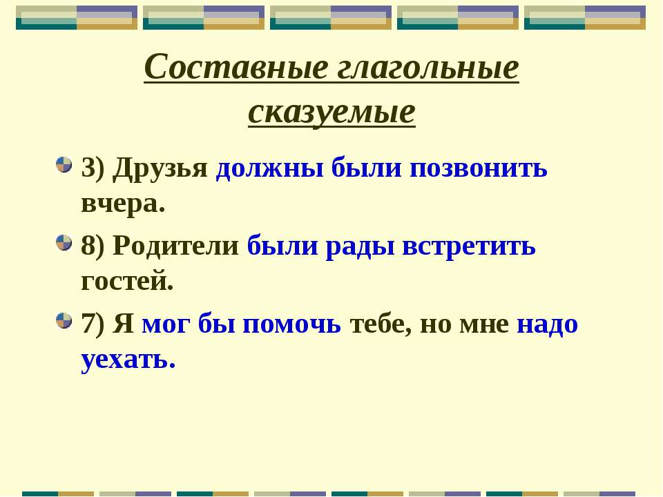 Составные глагольные сказуемые 3) Друзья должны были позвонить вчера. 8) Роди...