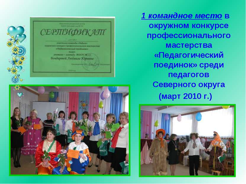 1 командное место в окружном конкурсе профессионального мастерства «Педагогич...