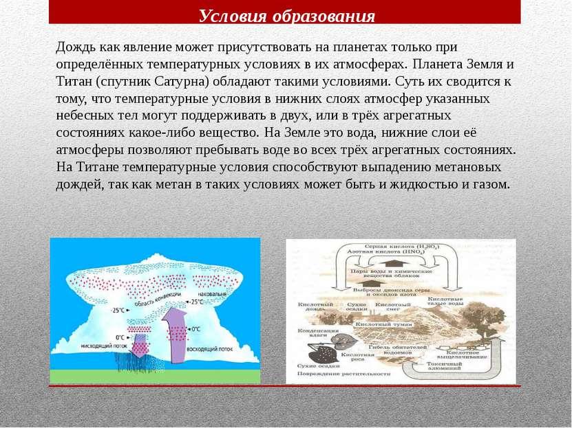 Условия образования Дождь как явление может присутствовать на планетах только...