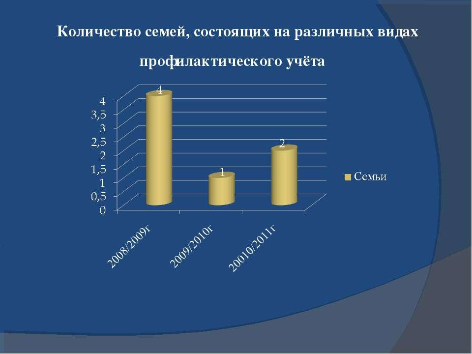 Количество семей, состоящих на различных видах профилактического учёта