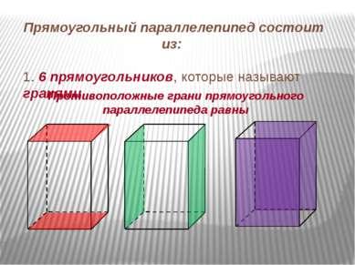 Прямоугольный параллелепипед состоит из: 1. 6 прямоугольников, которые называ...