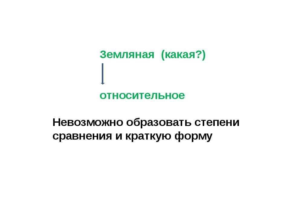 Земляная (какая?) относительное Невозможно образовать степени сравнения и кра...