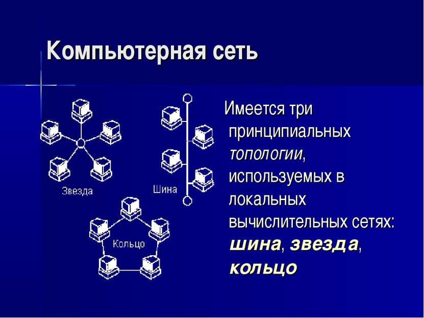 Компьютерная сеть Имеется три принципиальных топологии, используемых в локаль...