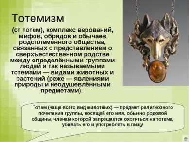 Тотемизм (от тотем), комплекс верований, мифов, обрядов и обычаев родоплеменн...