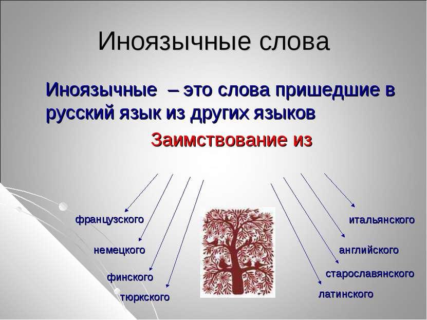 Иноязычные слова Иноязычные – это слова пришедшие в русский язык из других яз...