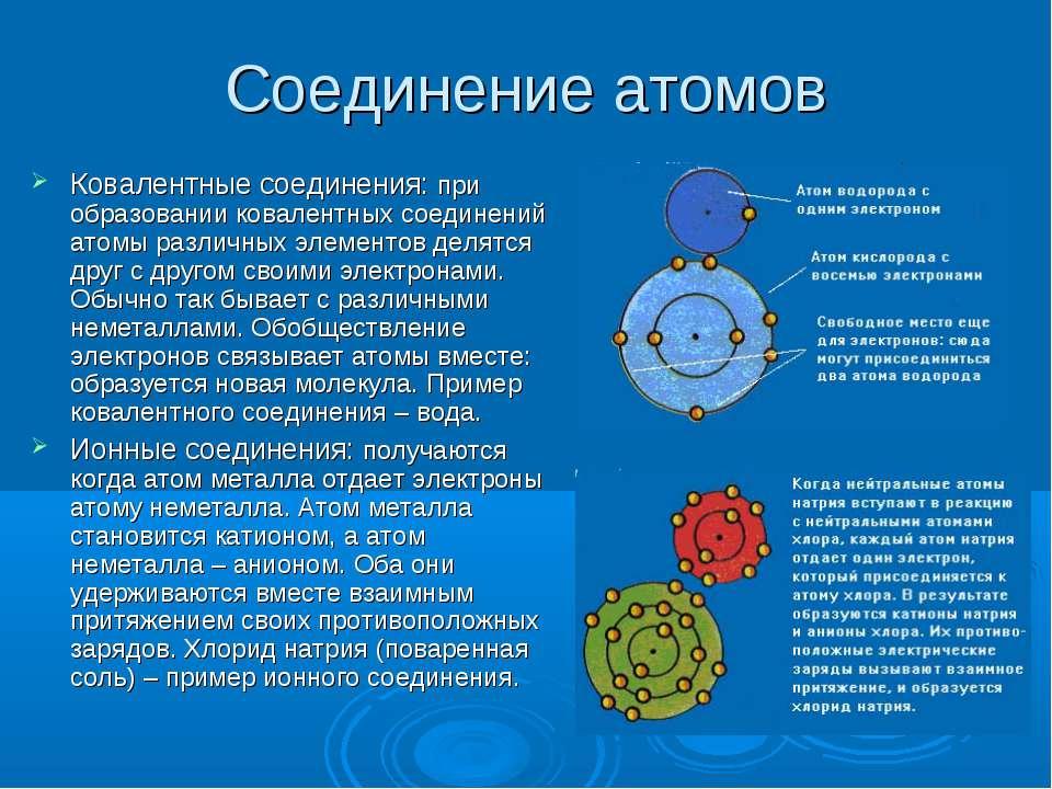 Соединение атомов Ковалентные соединения: при образовании ковалентных соедине...